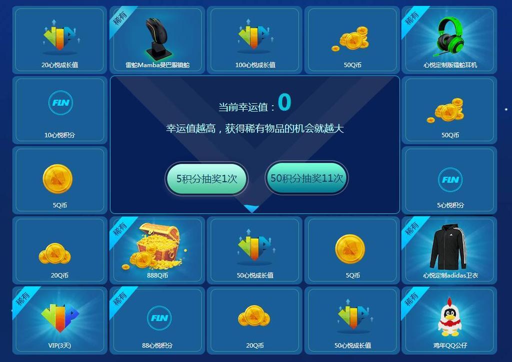 QQ用户用心悦积分每天都可抽Q币 心悦成长值实物奖励