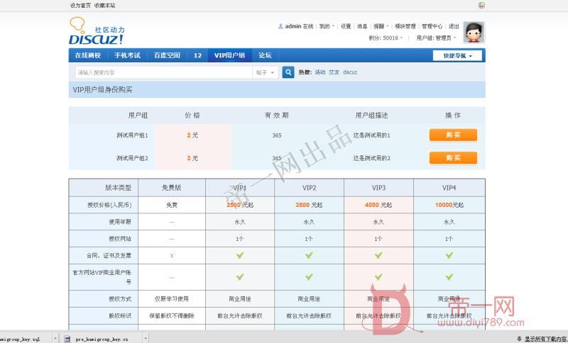 卡密VIP用户组购买 时间集成版-超强卡密VIP用户组 1.3DZ插件下载 【价值204元】